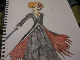 Ichigo with his hallow mask by BlueRosePetalsQueen