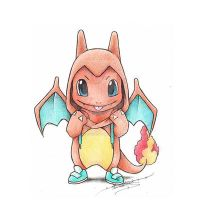 Charmander wearing a Charizard kigurumi by ItsBirdyArt