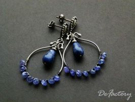 Sodalite and Tanzanite Earrings by SilverDeFactory