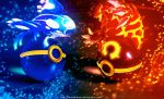 Pokeballs of Omega Ruby and Alpha Sapphire by Jonathanjo