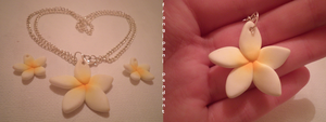 Frangipani pendants by MiniatureTemptations