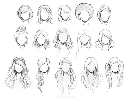 Character Hair Reference Sheet by gabbyd70