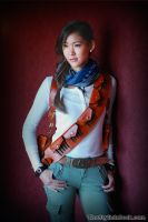 Female Nathan Drake Shooting - Red Wall by milkchess