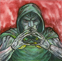 Dr. Doom Mixed Media Painting/Drawing by jbyrd117