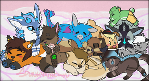.:CO:. Snuggle pile! by SpunkyRacoon