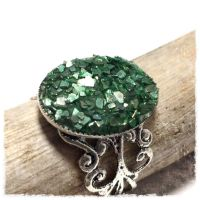 Faux Druzy Adjustable Ring Emerald Green A by Welcome2alittleTLC