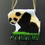 Bead loomed Panda baby pendant by CatsWire