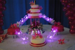 stairway cake lit up by starry-design-studio
