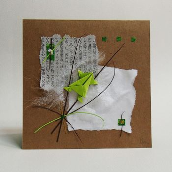 Jumping Frog Origami and Collage Card by orijuju