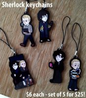 BBC Sherlock keychains/phonecharms by Poralizer