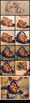 Oil painting process of Chris Hadfield by Pearlpencil