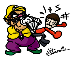 Wario Gives Mii a Wedgie by Lwiis64