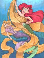 Ariel and Rapunzel: Hair fun by ElectricPoodle