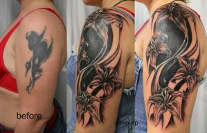 Tribal Cover up TaT Flowers by 2Face-Tattoo