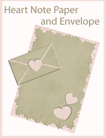 Heart  Note Paper and Envelope by ibjennyjenny