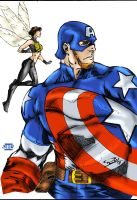 Captain America and the Wasp by Blindman-CB