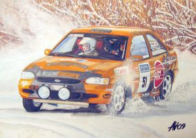 Orange Ford Escort Rally Car by Artbyantero