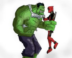 Hulk vs. Deadpool by phum0