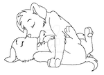 Puppy Kiss 2 -- Free Lineart by RoseVee
