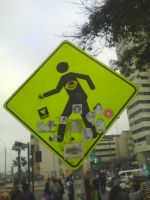 Stickers on signal in Centro Civico by AdagioParaCuerdas