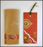 Bookmark - scrapbooking - brown and white dots by SuniMam