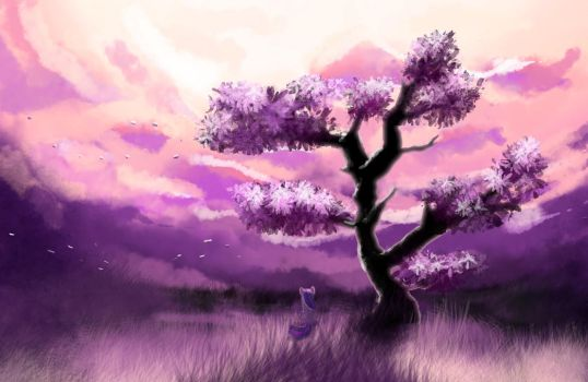 Twilight Sparkle is looking at twilight scenery by xbi