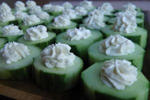 Cucumber Bites with Garlic Filling by maytel