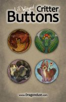 Lil' Winged Critter Buttons by mirroreyesserval
