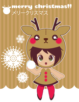 Reindeer Girl Xmas Card ::GIFT:: by Itachi-Roxas