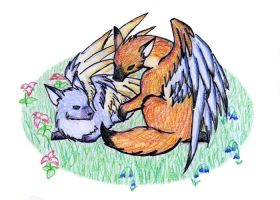 Winged Foxs, color test 2 by Taeryne