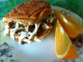 sloppy egg benjo burger by plainordinary1