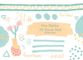 Free Photoshop Marker Brush Pack by dlolleyshelp