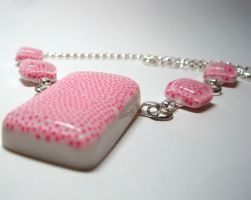 Pink Dots Resin Necklace by ExperienceDesigns