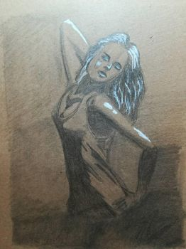 Figure drawing on a toned paper by Andrix9743