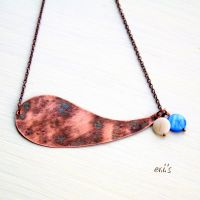 Copper Necklace with Blue Cream Mother of Pearl by IoannaEvans