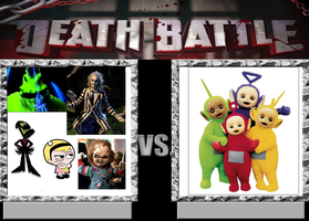 Nergal,Mandy,BJ,Oogie and Chucky Vs Teletubbies. by Smurfette123