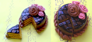 Polymer Clay : Chocolate Rose-Cake by CraftCandies