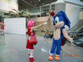 AX '11 - :3: Sonic + Amy2 by chihano14