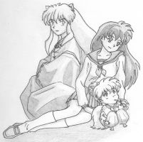 Inuyasha, Kagome and Shippo by alesyira
