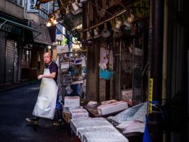 The Fishmonger's Morning (Tokyo, Japan) by jivecat