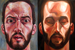 self portrait diptych by paintpixelprint