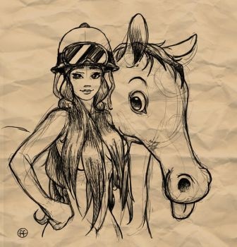 Girl and horse by fabianfucci