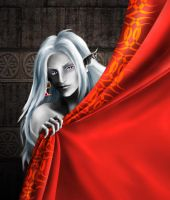 Drizzt Behind Curtain by SiberianCat