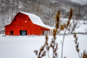 Old Country Barn In The Snow by blackbalsamphoto