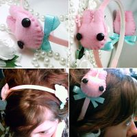 Kawaii Pink Bunny Headband by hellohappycrafts
