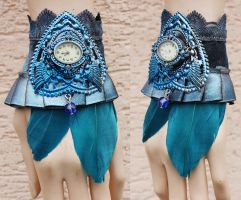 Bright blue ruffle watch cuff by Pinkabsinthe