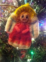 Needle Felted Angel - Christmas Ornament by pancakesandhalibut