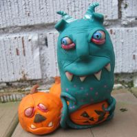Barney in the pumpkin patch by mealymonsterland