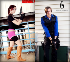 Past And Present-RE2 Claire RE6 Leon Cosplays by Hamm-Sammich