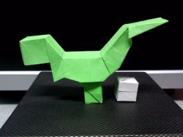 Origami Block T-Rex w/ Egg (Side) by TheOrigamiArchitect